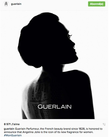 Angelina Jolie pose pour la campagne de la nouvelle fragrance Guerlain